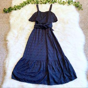 1901 Maxi Dress Blue Clip Dot Bow Dress